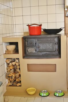 Wood stove in the kitchen