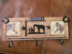 Western Wall Plaque with Hooks, New Western Decor