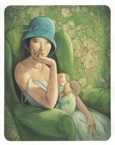 Art Et Illustration, Illustrations, Children's Book Illustration, Breastfeeding Art, Gravure Illustration, Fairytale Art, Character Design Animation, Portraits, Simple Art