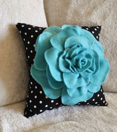 girls room black white turqoise | Turquoise Rose on Black with White Polka Dot Pillow by bedbuggs