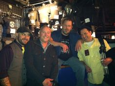 With Matt Jones (far left) and Fred LeBlanc (2nd from right) of Cowboy Mouth. And yes, our eyes glow like that naturally.