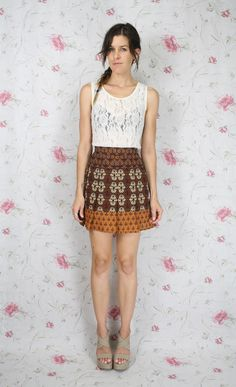 Reworked VINTAGE MINI skirt Indian print Boho by #renewvintage, $39.00 #reworkedvintage #vintage #miniskirt #ethnic #indianprint #boho #bohemian