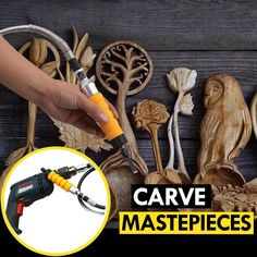 You can instantly turn your drill into a powerful carving chisel with the help of the ChiselChamp Carving Drill Bit! diy for beginners plans tips tools Awesome Woodworking Ideas, Woodworking Patterns, Woodworking Workbench, Woodworking Workshop, Woodworking Techniques, Woodworking Projects Diy, Woodworking Furniture, Fine Woodworking, Wood Projects