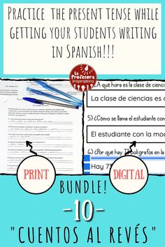 """Practice the present tense with this twist on a traditional classroom activity! A """"cuento al revés"""" is a creative writing activity that also reinforces key grammatical concepts and vocabulary. The activity is now available in print and digital formats, to support a variety of classroom modalities! Click through to see this activity that has quickly become a class favorite for my students! Spanish Vocabulary, Vocabulary Activities, Teaching Spanish, Writing Activities, Classroom Activities, Spanish Grammar, Spanish Classroom, Fun Activities, Classroom Ideas"""