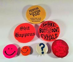 7 Hippy 70's Pin Pinbacks Smoke Smiley Face Jesus Love Button Free shipping