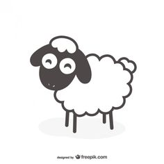 Black and white sheep vector Free Vector Sheep Cartoon, Cute Cartoon, Cartoon Drawings, Easy Drawings, Sheep Logo, Sheep Drawing, Sheep Illustration, Goat Logo, Sheep Vector