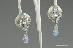 Dangle Earrings Clip On Crystal Rhinestone Bridal by JessesVintage, $24.95