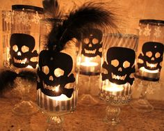 DIY skull candle holders  Black Crow Halloween Dessert Buffet - Oh My Creative