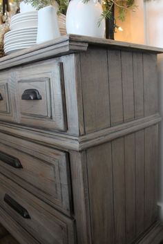 Driftwood Gray paint/stain for my clock Chalk Paint Furniture, Furniture Projects, Wood Furniture, Gray Painted Furniture, Antique Furniture, Gray Distressed Furniture, Weathered Grey Stain, Broyhill Furniture, Furniture Design