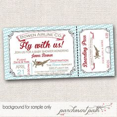 Vintage Airplane Baby Shower Invitation - Personalized Invite - Printable