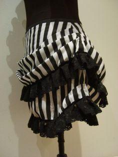 Mini burlesque stripe bustle skirt by blackmirrordesign on Etsy