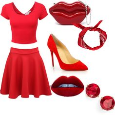 RED by penguins-lily on Polyvore featuring polyvore fashion style Christian Louboutin Anne Klein