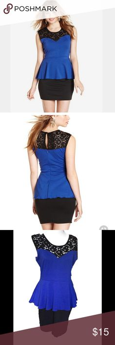 Blue and Black Peplum Dress, Size XL Sweetheart neckline, with lace overlay. Zip up back and stretch material. Fits a few inches above the knee for average heights. Ultra Flirt Dresses Midi
