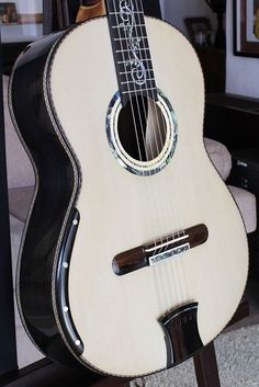Figured African Blackwood back and sides, Alpine Spruce top Concert Classical Guitar. February 1, 201#.