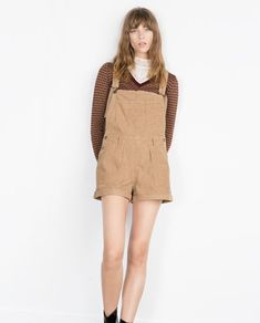 Image 1 of SHORT CORDUROY DUNGAREES from Zara