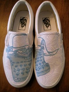 Typewriter shoes by Anna's Painted Shoes