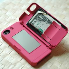 iPhone case with a mirror and money holder. genius!