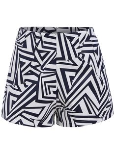 Geometric Print With Zipper Shorts