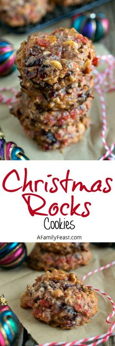Rocks Christmas Rocks cookies - A vintage cookie recipe filled with nuts and dried and candied fruit. Soft, sweet and delicious!Christmas Rocks cookies - A vintage cookie recipe filled with nuts and dried and candied fruit. Soft, sweet and delicious! Christmas Rock, Christmas Sweets, Christmas Cooking, Vintage Christmas, Christmas Ideas, Xmas Food, Baking Recipes, Cookie Recipes, Dessert Recipes