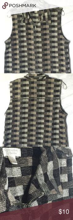 Christopher & Banks Women's vest Size L Gray, black, cream and tan zip up vest. Excellent condition. Christopher & Banks Jackets & Coats Vests