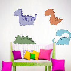 Colorido #vinilodecorativo de 4 dinosaurios / Colorful #walldecal of 4 dinosaurs