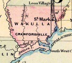 wakulla county, florida | Map of Wakulla County, Florida, 1877