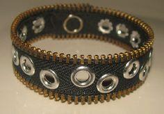 """Denim look with eyelets Zipper Bracelet 7"""" Inside diameter. MEMBER - lezanglez"""