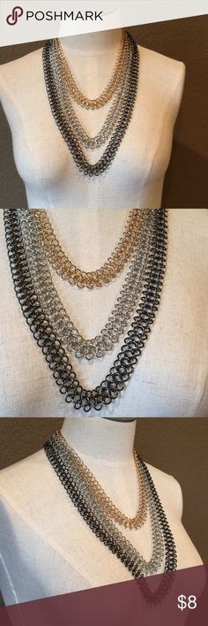Layered Necklace Layered Necklace in mixed metals of gold, silver, & hematite. Jewelry Necklaces