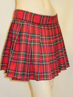 Red Royal Stewart Skater Skirt~Heavy Pleated Plaid