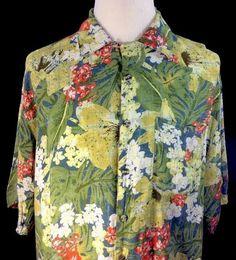 Hawaiian Shirt Hibiscus Leis Caribbean Blues Men's 2X 100% Rayon Green Floral…