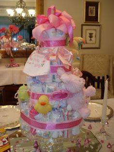 Little girl diaper cake for baby shower
