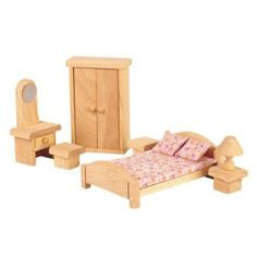 Plan Toys Wooden Dollhouse Furniture - Classic Bedroom