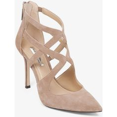 BCBGeneration Torpido Cutout Pump ($110) ❤ liked on Polyvore featuring shoes, pumps, taupe, bcbgeneration shoes, strappy pumps, pointy toe stiletto pumps, bcbgeneration pumps e pointy-toe pumps