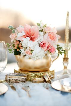 Floral pens + extra flowers for centerpieces: Color Inspiration: Perfect Coral and Gold Wedding Ideas - MODwedding Mod Wedding, Wedding Reception, Glitter Wedding, Wedding Tables, Reception Ideas, Gold Glitter, Lace Wedding, Wedding Dresses, Teapot Centerpiece