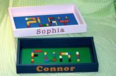 Personalized Lego tray.  Perfect place for the kids to play with their legos and makes for easy storage.