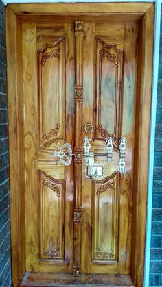 My house door Wooden Double Doors, Double Front Doors, Wood Front Doors, Wooden Doors, Single Door Design, Wooden Main Door Design, Double Door Design, House Doors, House Windows