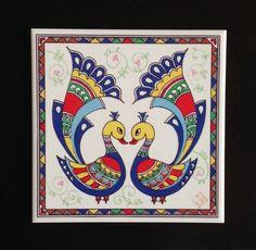 Set of 4 Blank Cards, with Indian Folk Art Madhubani Paintings Peacock, Kalamkari Painting, Peacock Painting, Madhubani Art, Peacock Art, Fabric Painting, Peacock Design, Painting Tips, Painting Art
