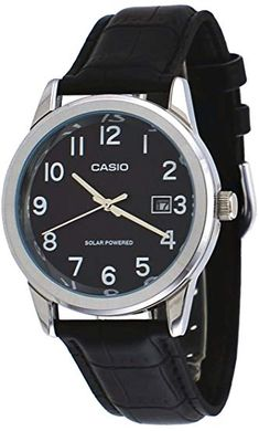 01b2330830 Casio Men's Standard Solar Leather Band Black Dial Date Watch