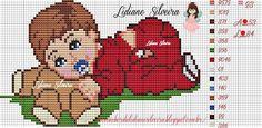 Baby Cross Stitch Patterns, Cross Stitch Baby, Cross Stitch Alphabet, Cross Stitch Animals, Cross Stitch Charts, Mario Crochet, Chicken Cross Stitch, Cross Stitch Kitchen, Happy Baby