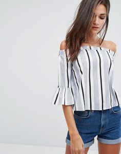 ada55335ebf Influence Bardot Top With Flare Sleeve at asos.com