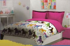 Lime green white and purple girl horse bedding that tween girls love