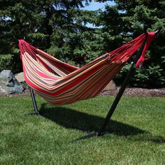 Double Brazilian Hammock/Stand Combo - Sunset #outdoorliving #hammocks #outdoorseating #outdoorspace