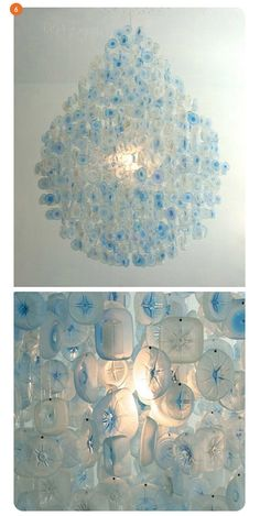 stuart haygarth's hanging lights, and i do believe that this is it! a water-drop shaped pendant lamp made from 1800 plastic bottles collected from england's stansted airport, that were then tossed in a cement mixer filled with sand to give them the look of frosted glass.