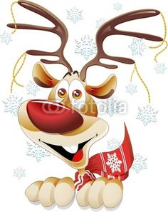 Funny Reindeer Cartoon Character Smiling Reindeer Cartoon with Crystal Snowflakes Ornaments Happy and Funny Rudolph Reindeer ...