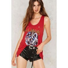 Def Leppard Racerback Tank ($58) ❤ liked on Polyvore featuring tops, red, red singlet, racerback tank, red tank top, graphic tanks and racerback top