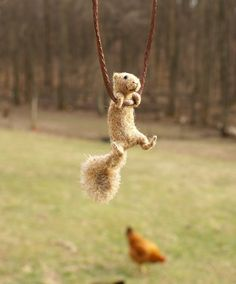 Tiny Squirrel Necklace  needle felted by motleymutton on Etsy