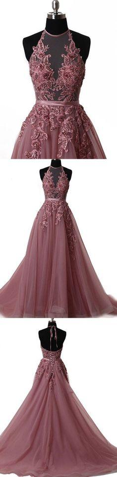 halter applique prom dress a-line tulle long evening dress,HS125 #moddress #fashion #shopping #promdresses #eveningdresses #prom #dresses