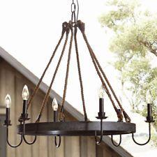 Rustic Chandelier Ceiling Fixture Lighting Lamp Candle Hanging Candelabra Light