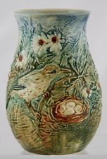 "WELLER GLENDALE 6.75"" VASE W/TERN PROTECTING HER NEST ON MARSHY LANDSCAPE MINT Weller Pottery, Roseville Pottery, Nest, Bird, Landscape, Ebay, Decor, Nest Box, Decorating"