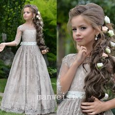 Gray Half Sleeve Kids Flower Girl Dress First Communion Dresses Birthday Wedding Party Bridesmaid Holiday Princess Gown Lace Flower Girl Dress 22 – Flower Girl Dress Princess Flower Girl Dresses, White Flower Girl Dresses, Lace Flower Girls, Little Girl Dresses, Flower Girl Updo, Flower Girl Hairstyles, Pageant Dresses, Quinceanera Dresses, Gowns For Girls